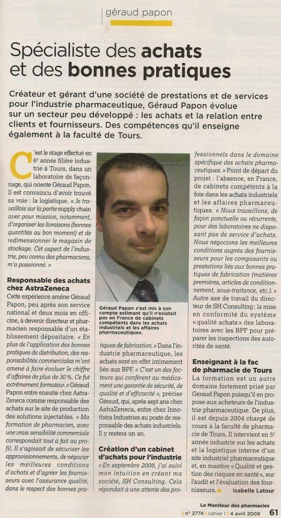Moniteur 2009 Géraud Papon, spécialiste des achats